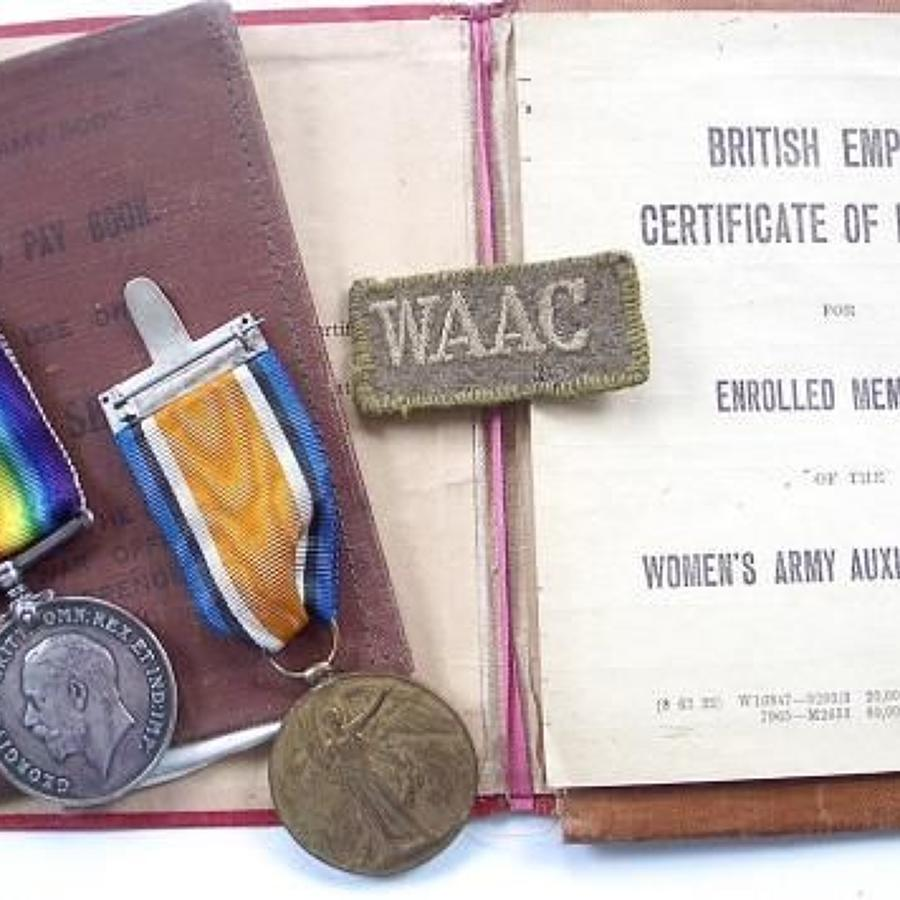 WW1 Queen Mary's Auxiliary Army Corps QMAC / WAAC Medal Grouping.