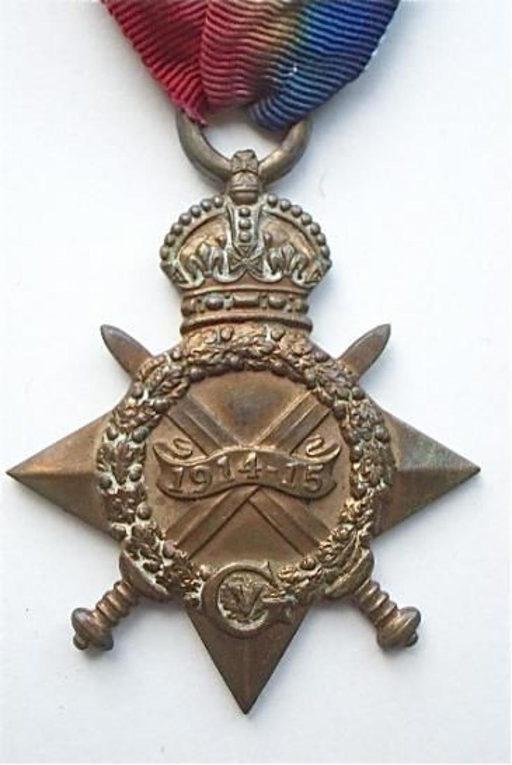 WW1 Army Service Corps 1914/15 Star Medal.