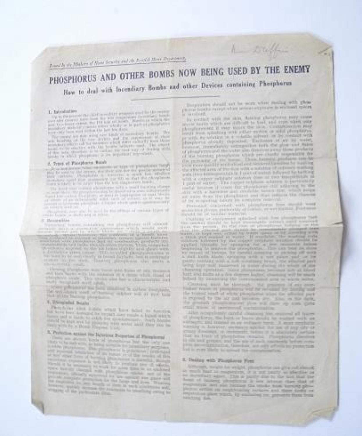 WW2 Home Front Official Information sheet Phosphorus and Other Bombs n