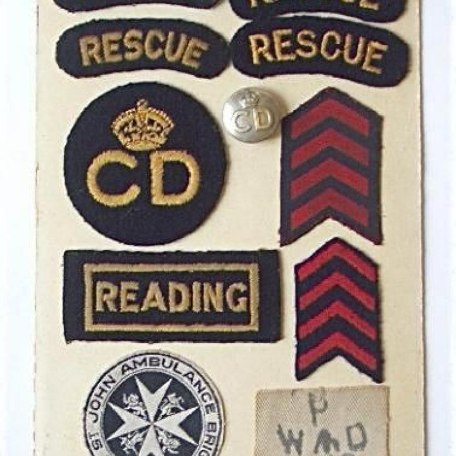 WW2 Civil Defence Reading Uniform Badges.