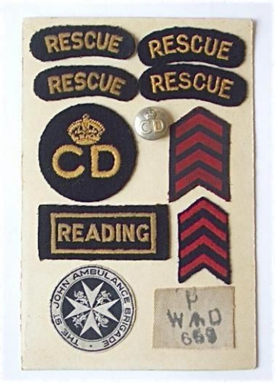 WW2 Civil Defence Reading Uniform Badges.