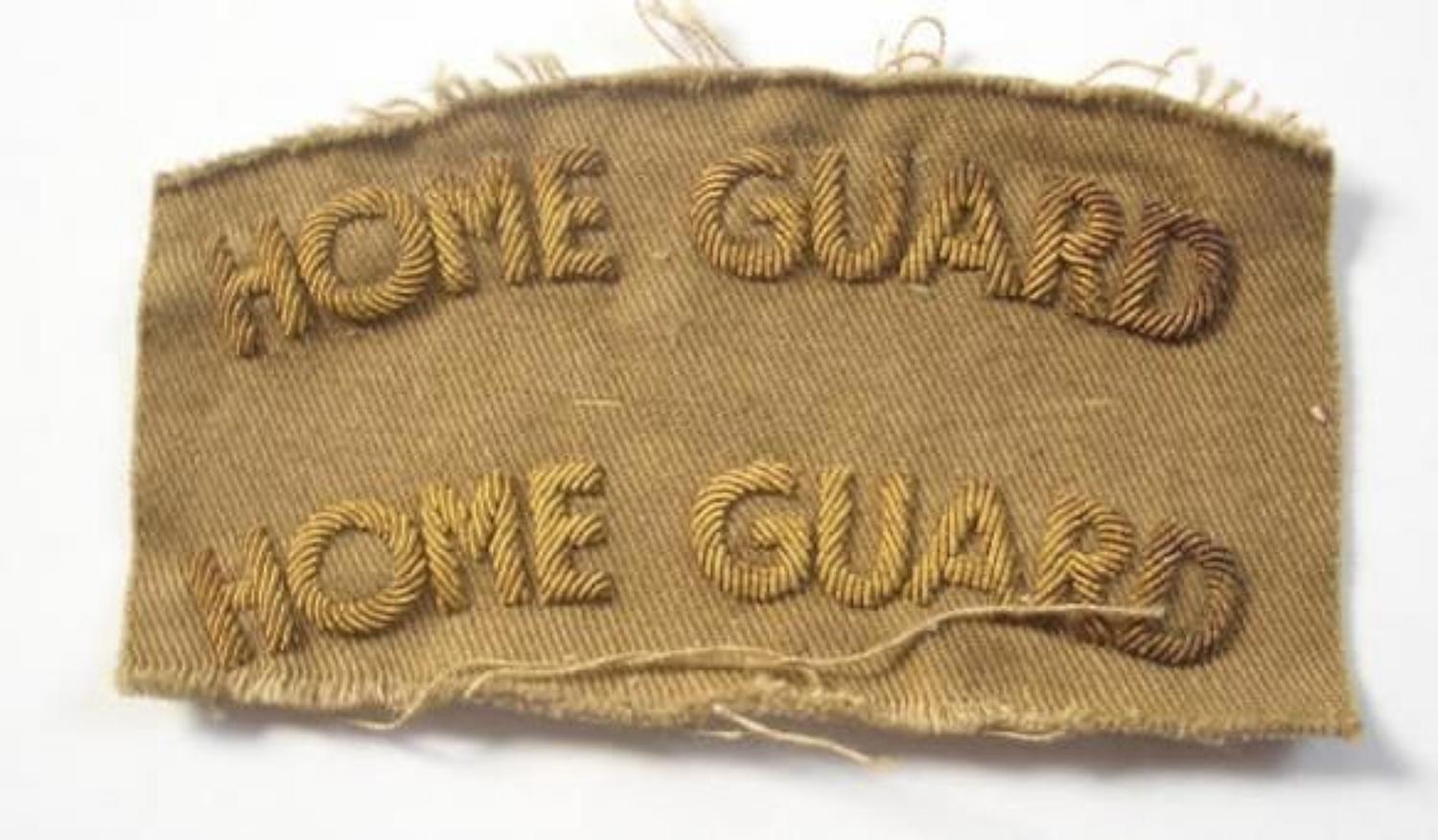 WW2 Home Guard Rare Officer's Gold Bullion Embroidered Shoulder Titles