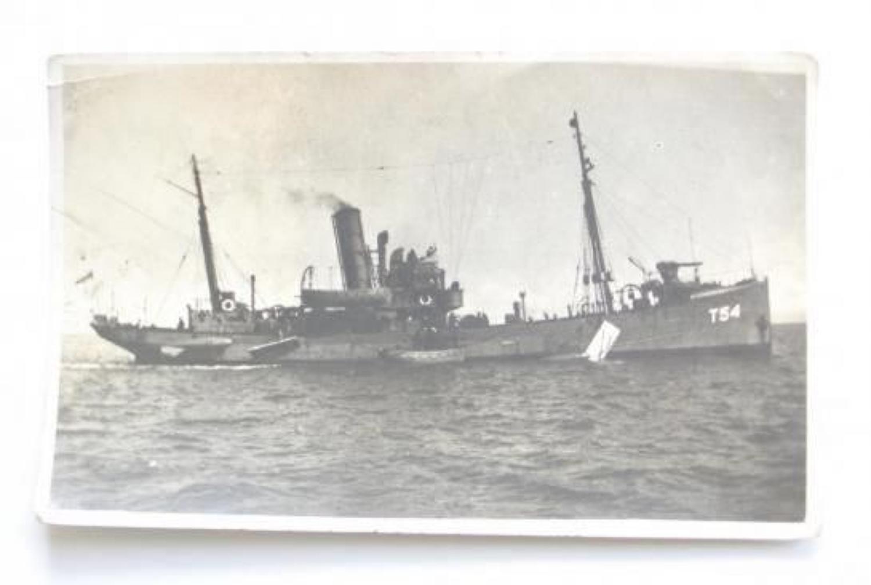 WW2 1940 Royal Navy Armed Trawler HMS Oak Postcard Photograph.