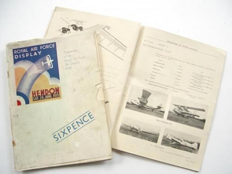 RAF 1935 Hendon Flying Display Programme.