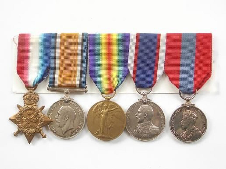Royal Marine Artillery 1914 Star, RFR Long Service Medal Group