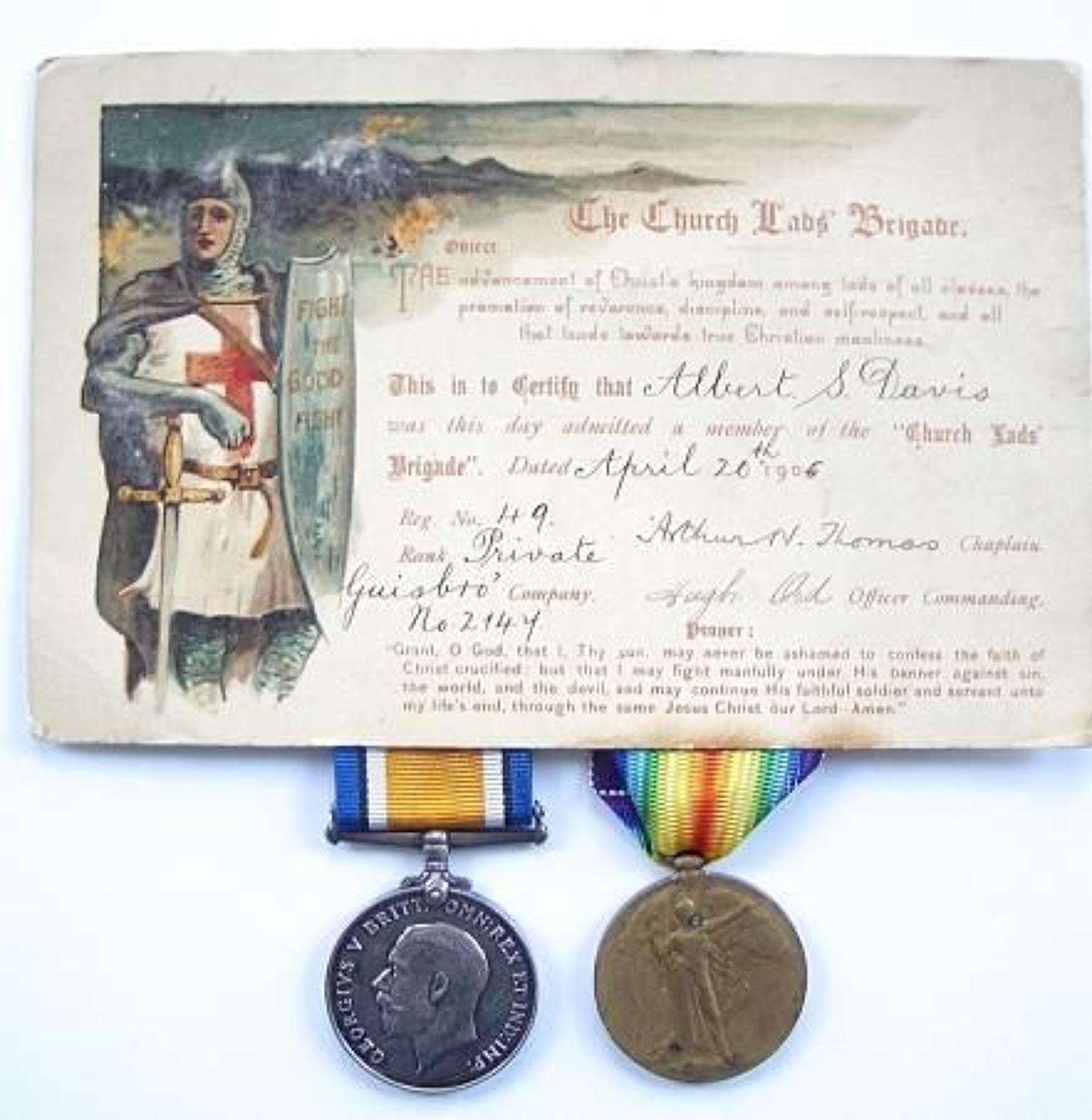 WW1 Royal Garrison Artillery Pair of Medals.