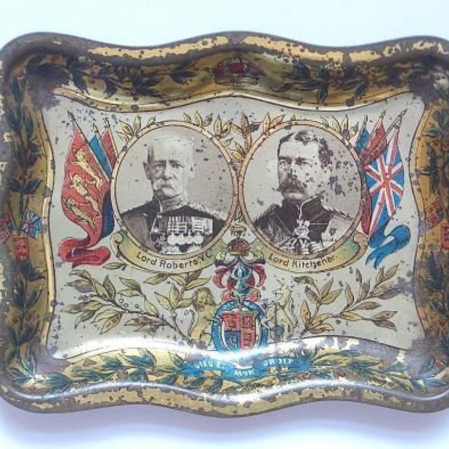 Boer War Patriotic Lord Roberts & Earl Kitchener Pin Trey.