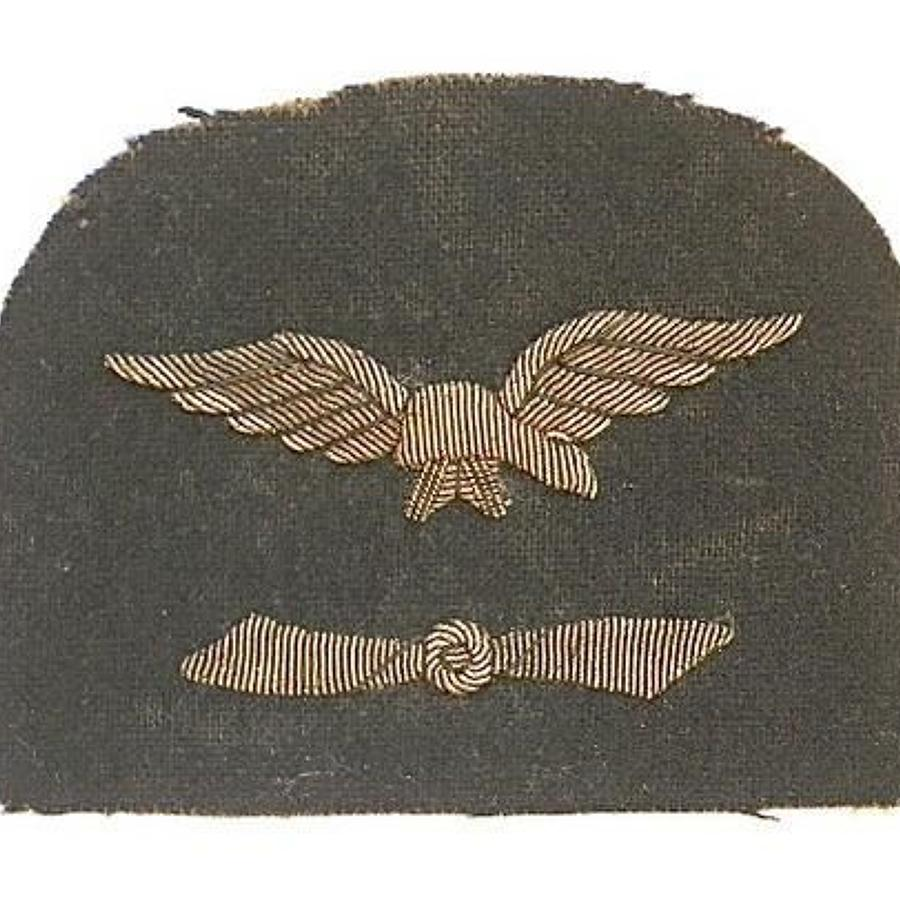 Royal Naval Air Service WWI Engineer's RNAS sleeve badge.
