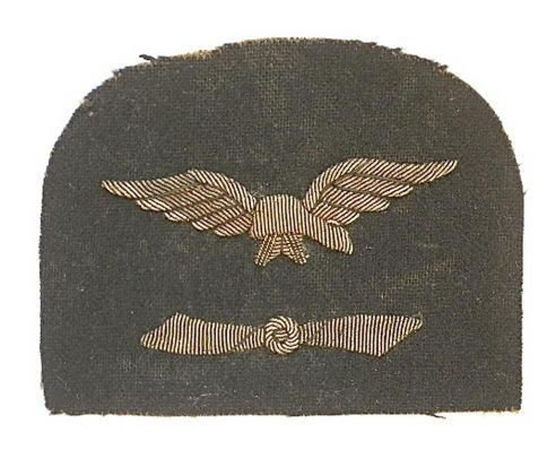 Royal Naval Air Service WWI Engineer's RNAS sleeve badge.