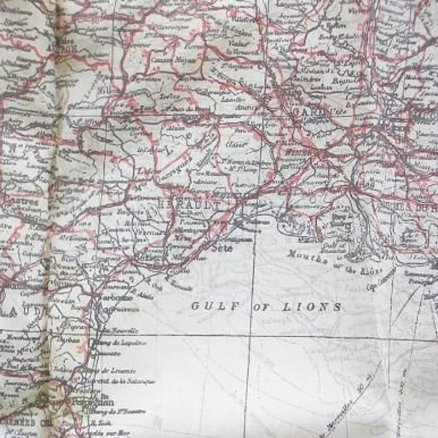 WW2 RAF Silk Aircrew Escape Map of Southern France.