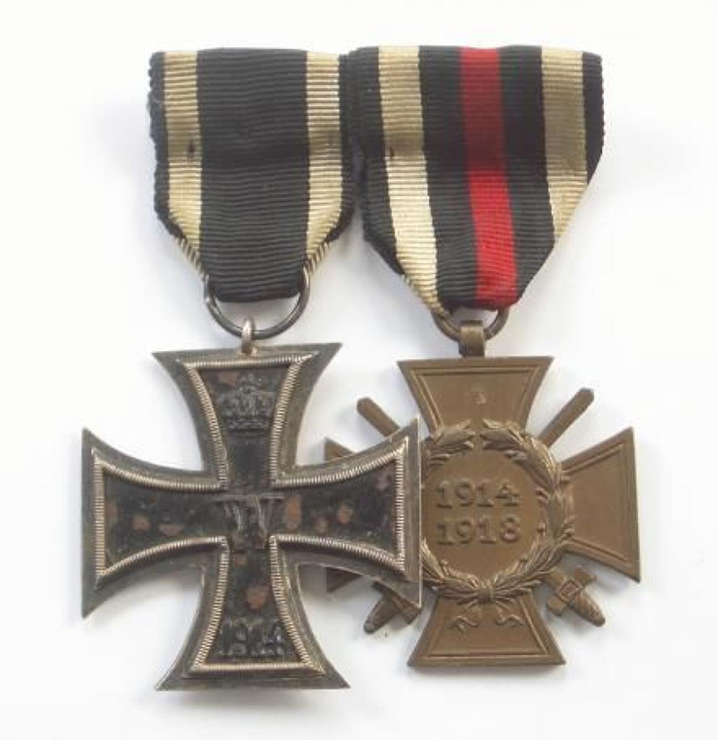 WW1 Imperial German Iron Cross 2nd Class & Honour Cross Pair of Medals