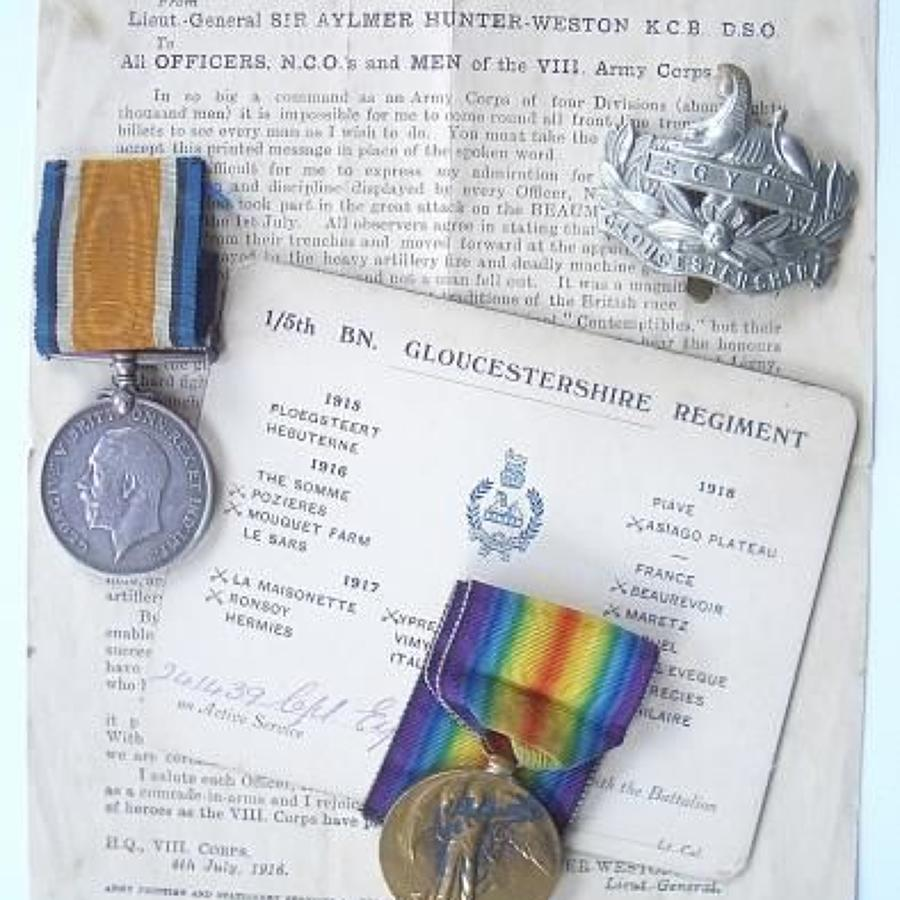 WW1 1/5th Gloucestershire Regiment Battle of The Somme Veterans Medals