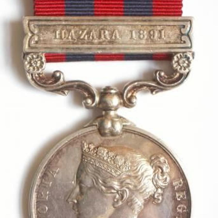 "Royal Welsh Fusiliers India General Service Medal, ""Hazara 1891"