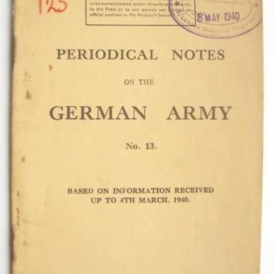 WW2 War Department Issue March 1940 Periodical Note on the German Army