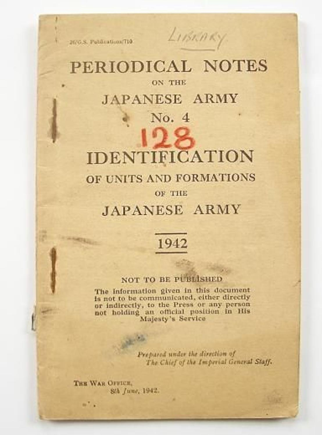 WW2 War Department Issue Identification of the Japanese Army 1942 Manu