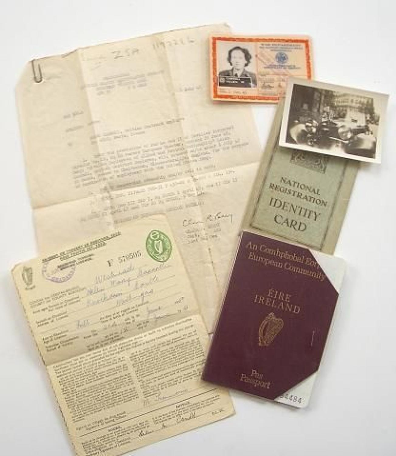 WW2 UK National Working with the US Army ID Pass etc.