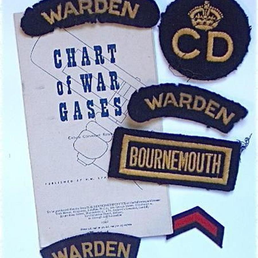 WW2 Civil Defence Bournemouth Cloth Badges.