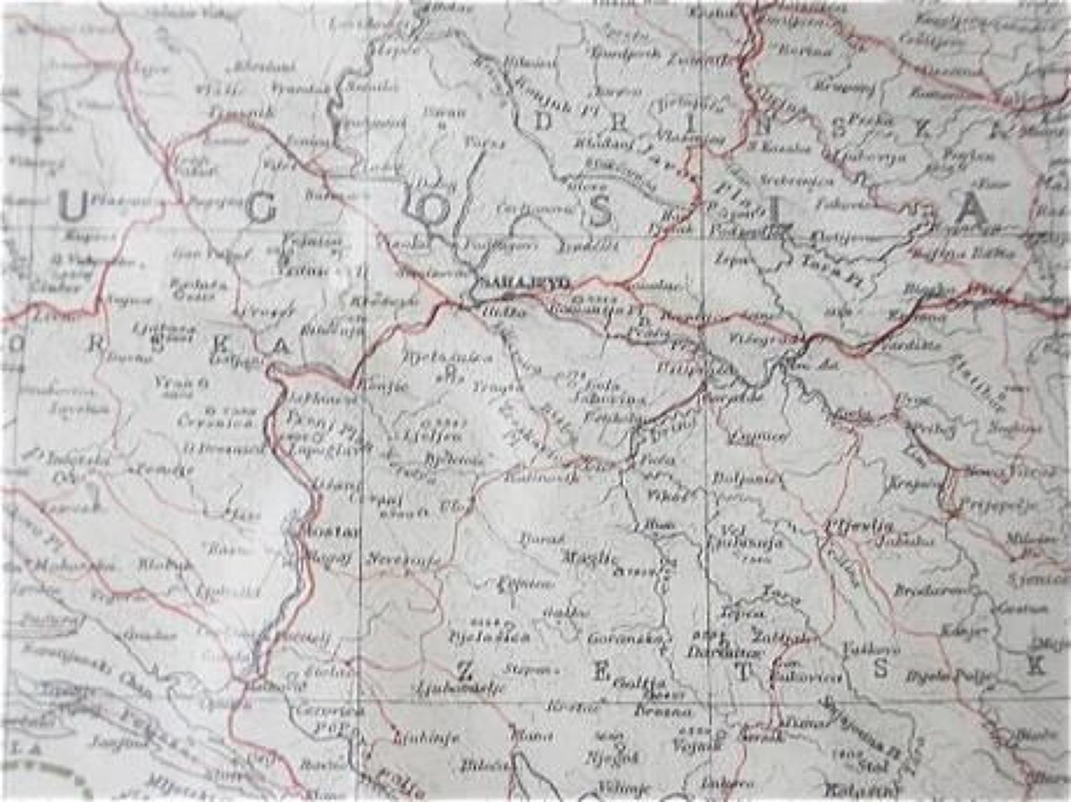 WW2 RAF Aircrew Escape Paper Tissue Map of Hungary & Jugoslavia & Ital