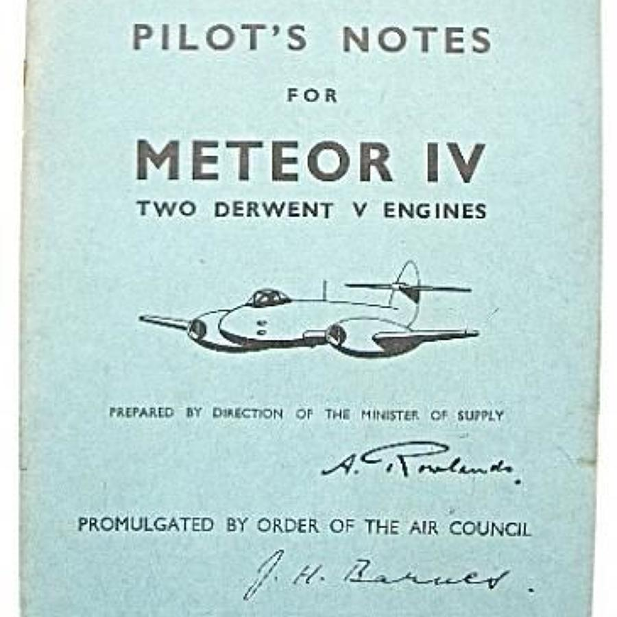 RAF Cold War Period Original Pilots Notes for the Meteor IV.