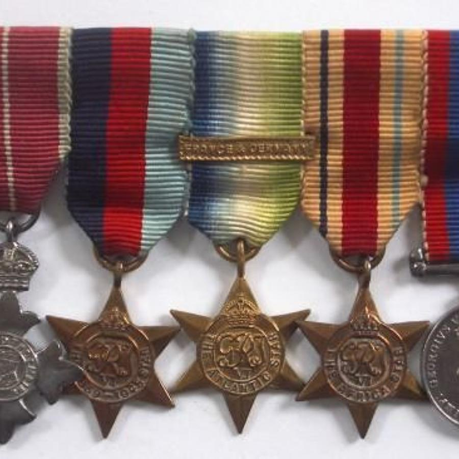 WW2 MBE Miniature Medal Group of Five Medals.