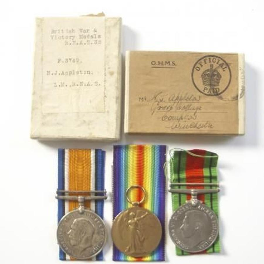 WW1 RNAS / WW2 Winchester Home Guard Group of Three Medals.