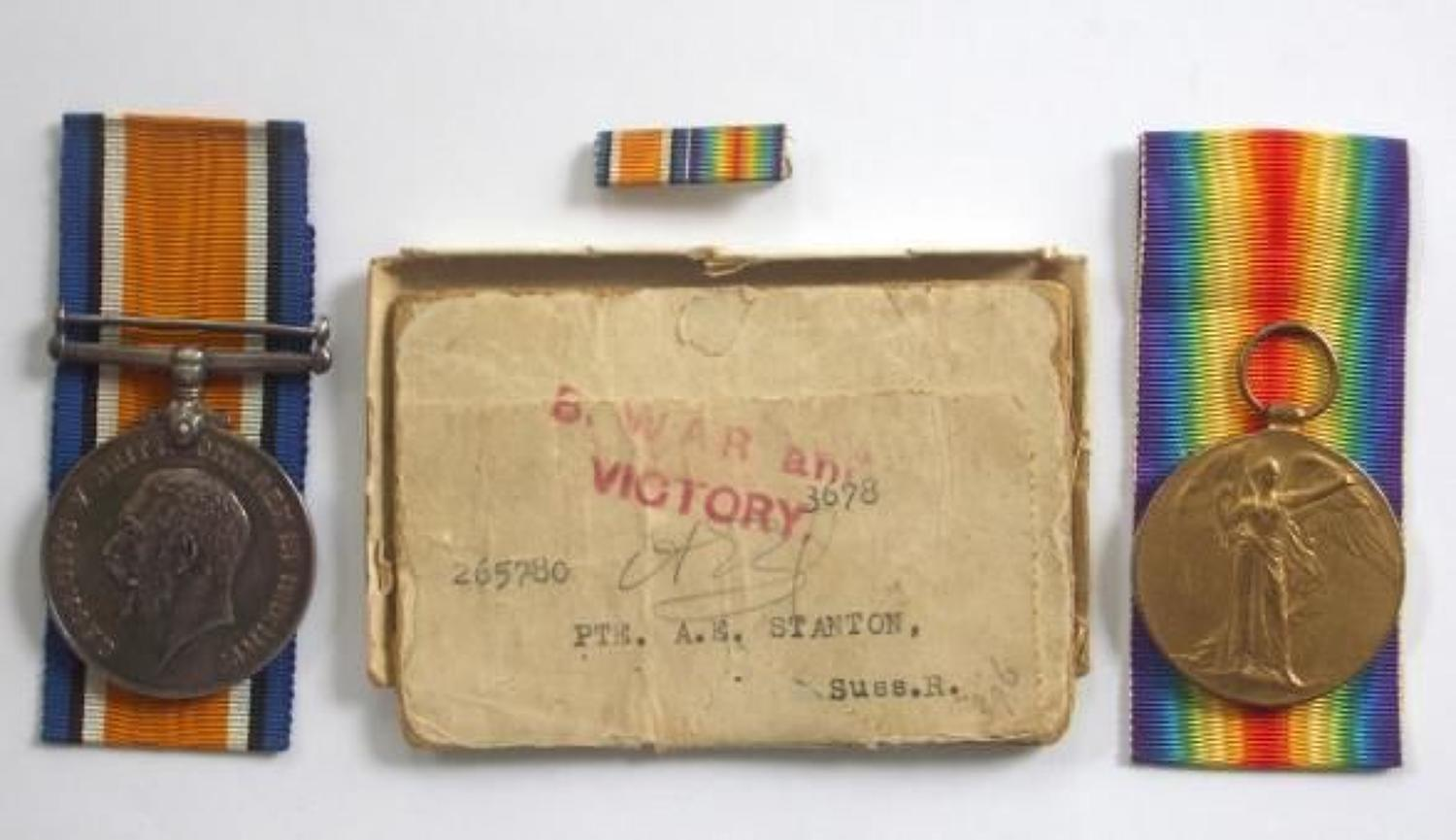 WW1 Royal Sussex Regiment Pair of Medals.