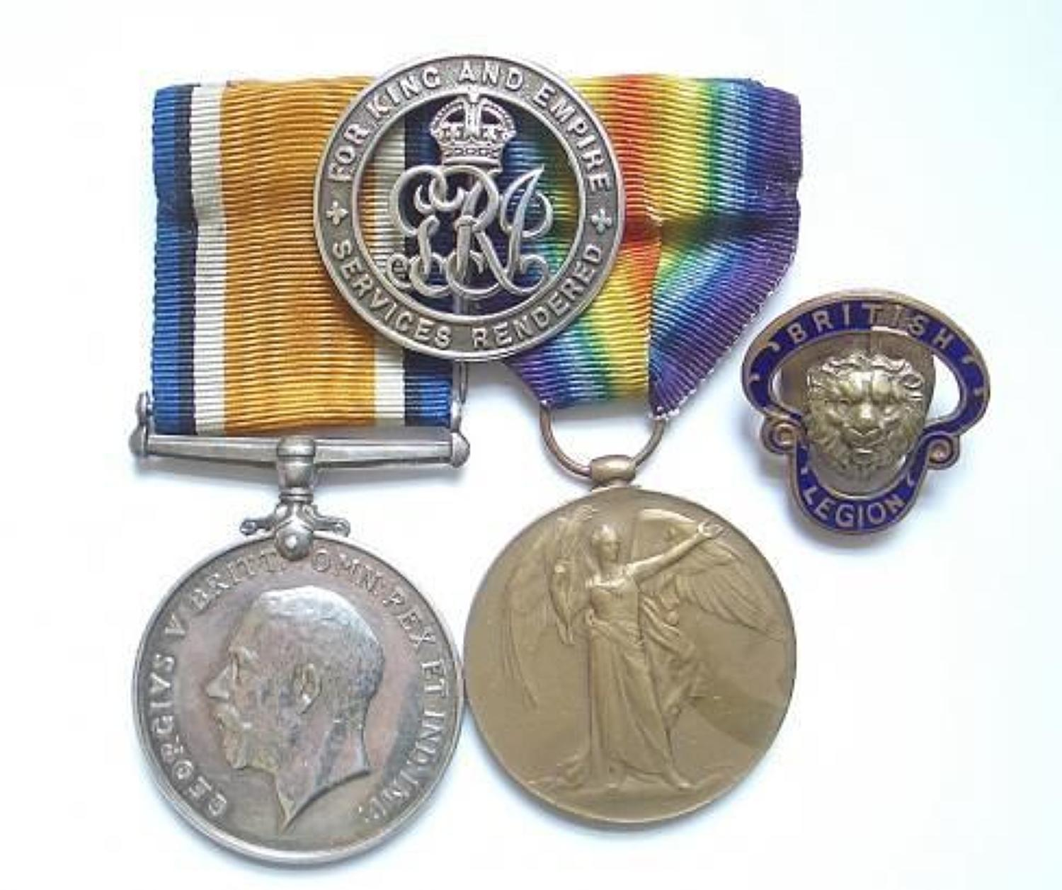 WW1 Liverpool Regiment Pair of Medals & Original Issue Silver War Badg