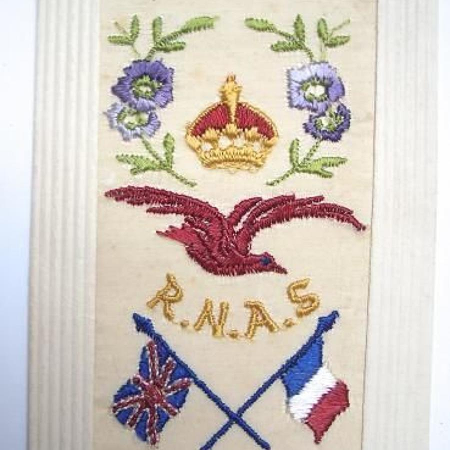 WW1 RNAS Silk Embroidered Postcard.