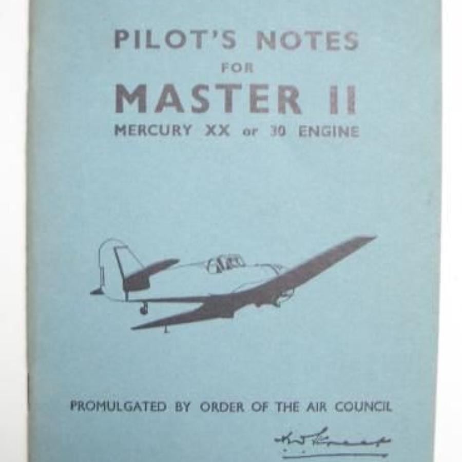 RAF WW2 Period Original Pilots Notes for the Master II