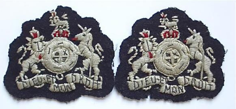 WW2 Unusual Pair RAF Warrant Officer rank badges
