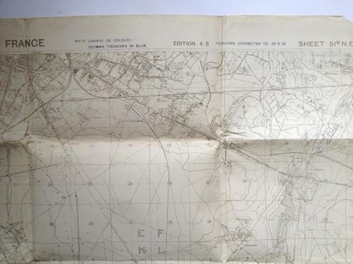 WW1 August 1918 British Army Trench Fighting Map