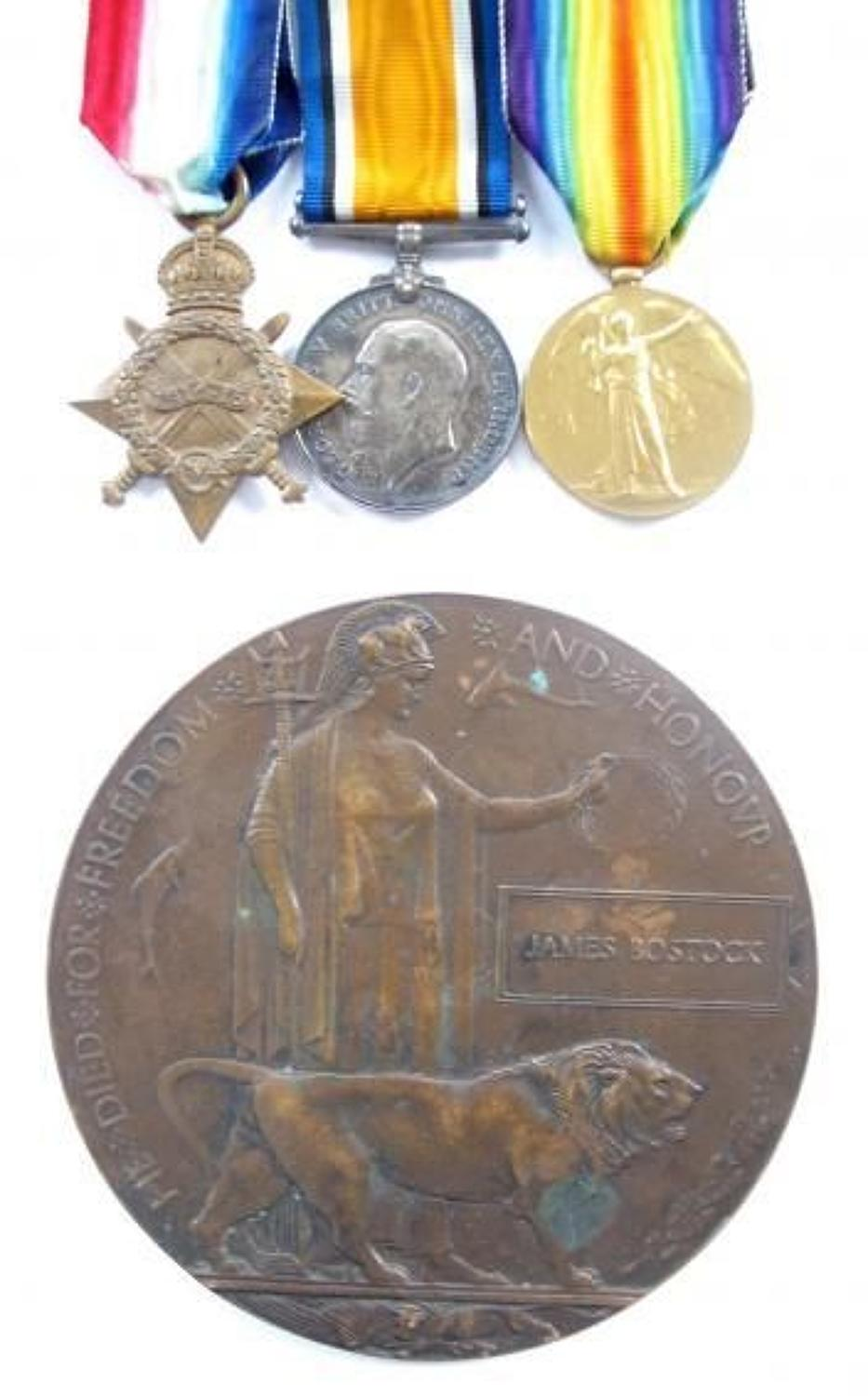 WW1 9th Bn Lancashire Fusiliers 1917 Casualty Group of Medals.