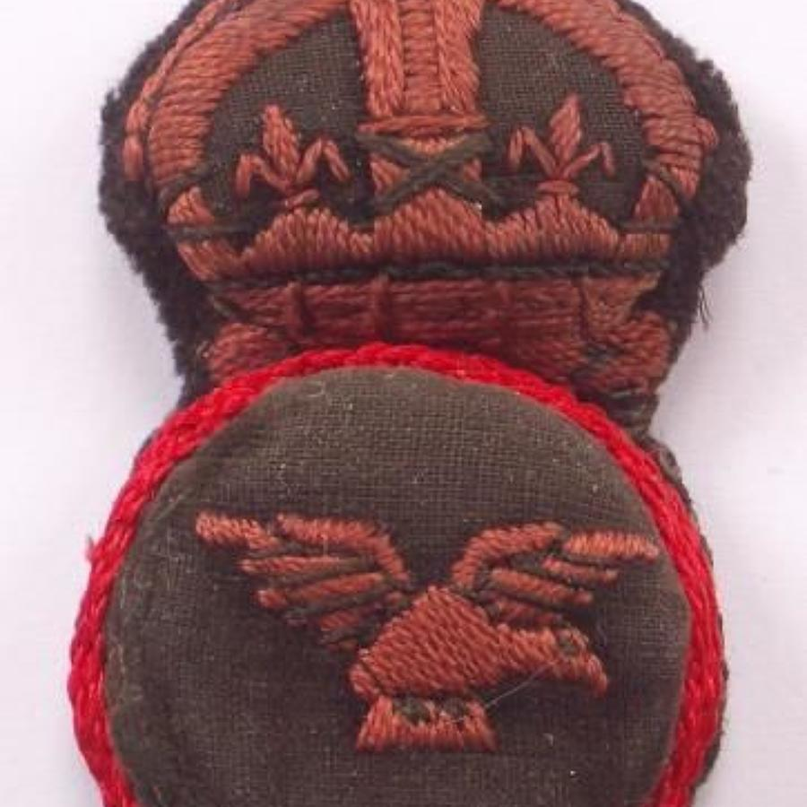WW1 1918 RAF Royal Air Force 1st Pattern Embroidered RAF Cap Badge