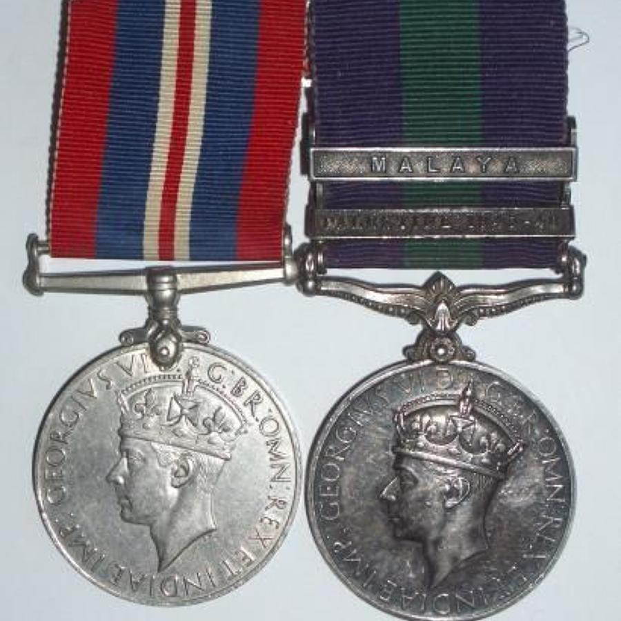 WW2 Welsh Guards Two Clasp General Service Medal.