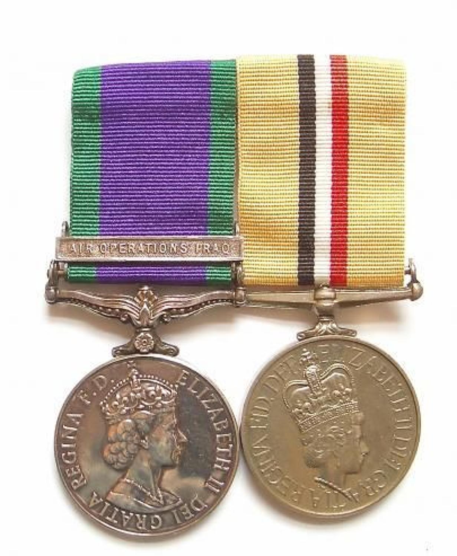 Royal Navy Rare Air Operations Iraq Campaign Service Medal Pair.