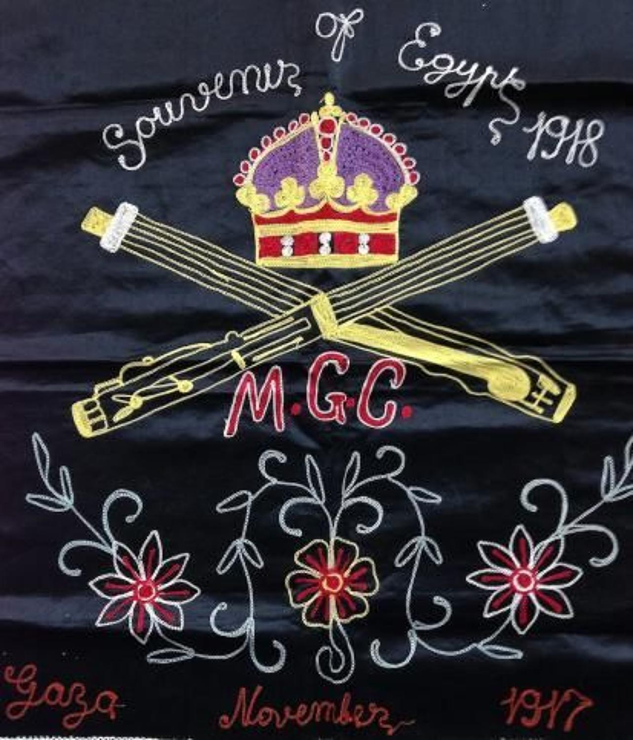 WW1 Machine Gun Corps MGC Embroidered Silk Panel.