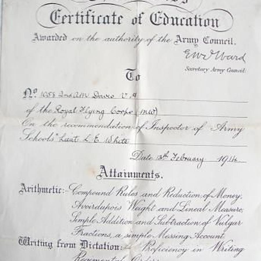 Royal Flying Corps RFC 1914 Third Class Certificate of Education.