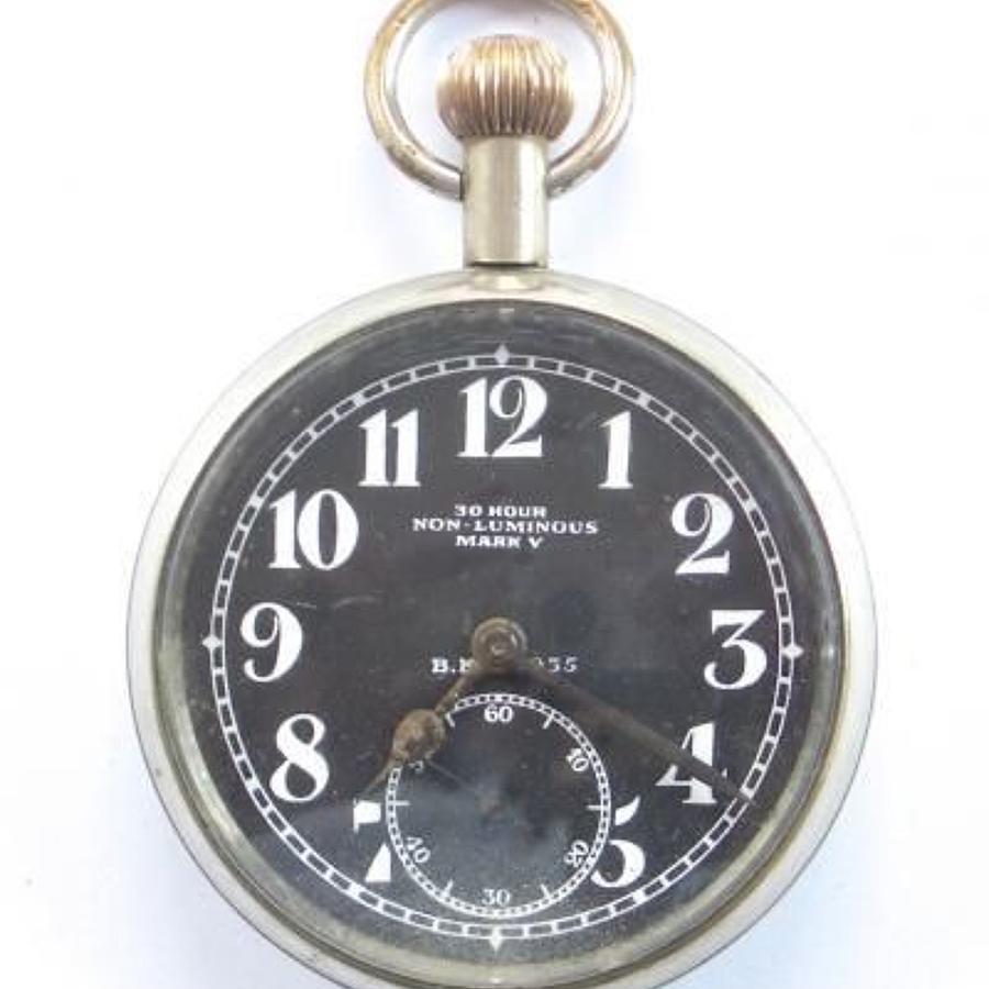 WW1 RFC / RNAS aircraft control panel clock NO POST WW1 MARKS