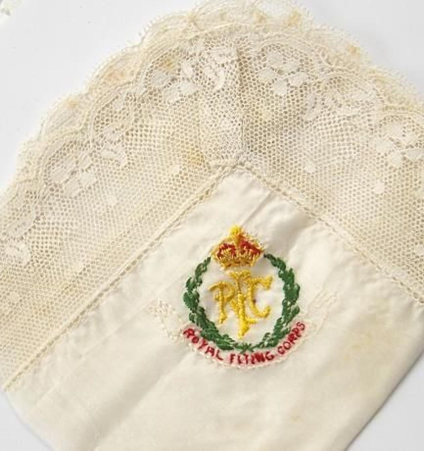 WW1 Royal Flying Corps RFC Silk Embroidered Handkerchief