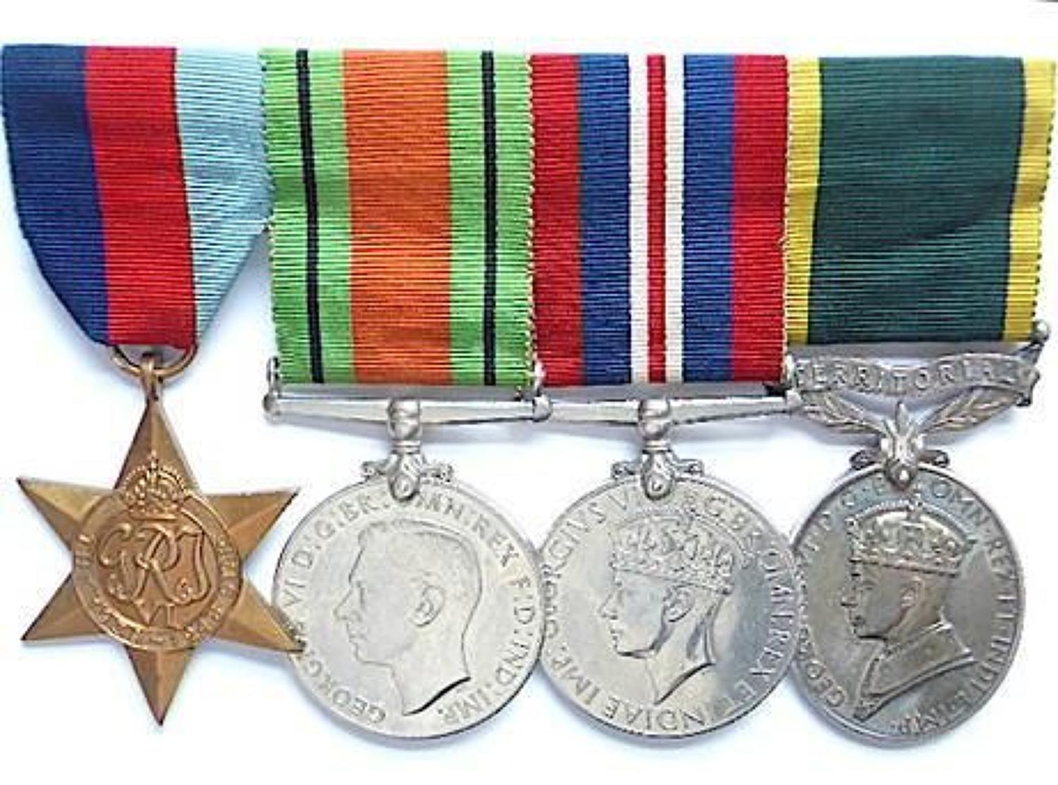 WW2 ATS Officers Territorial group of four.