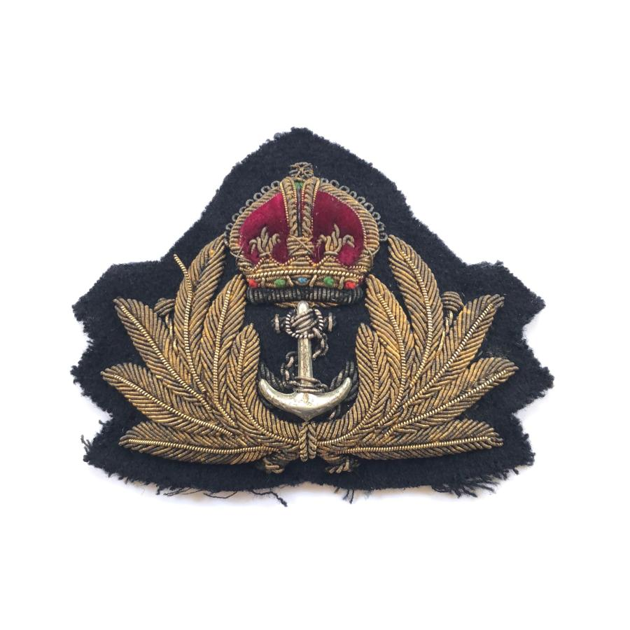 WW2 Royal Navy Officer's Bullion Cap Badge