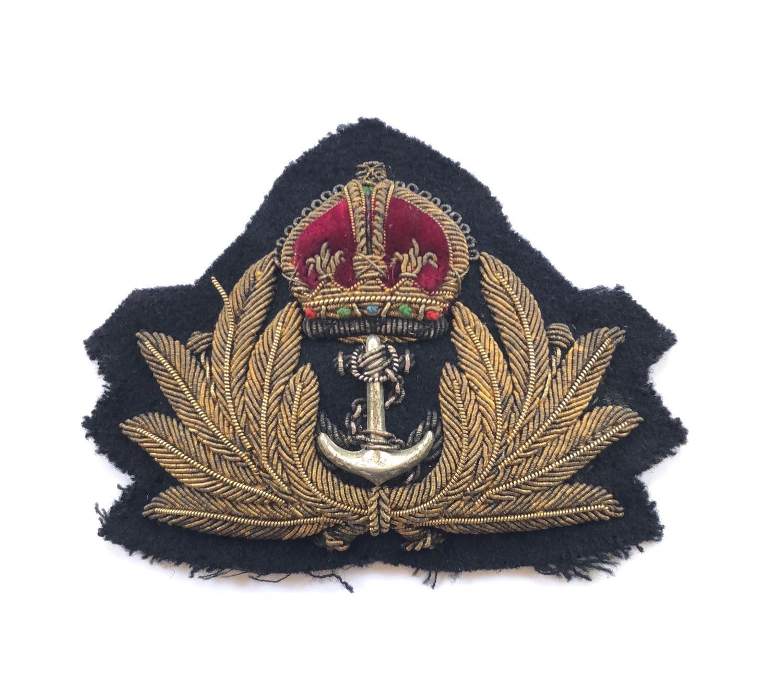 WW2 Royal Navy Officer's Bullion Cap Badge