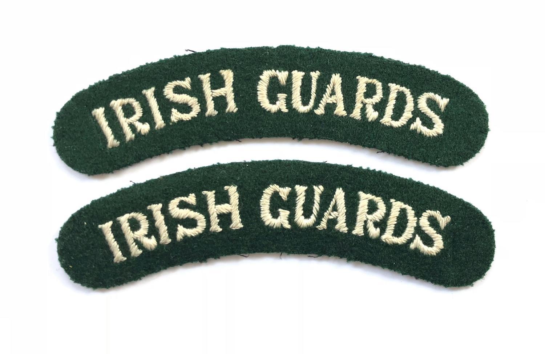 WW2 Period Irish Guards Cloth Shoulder Titles.