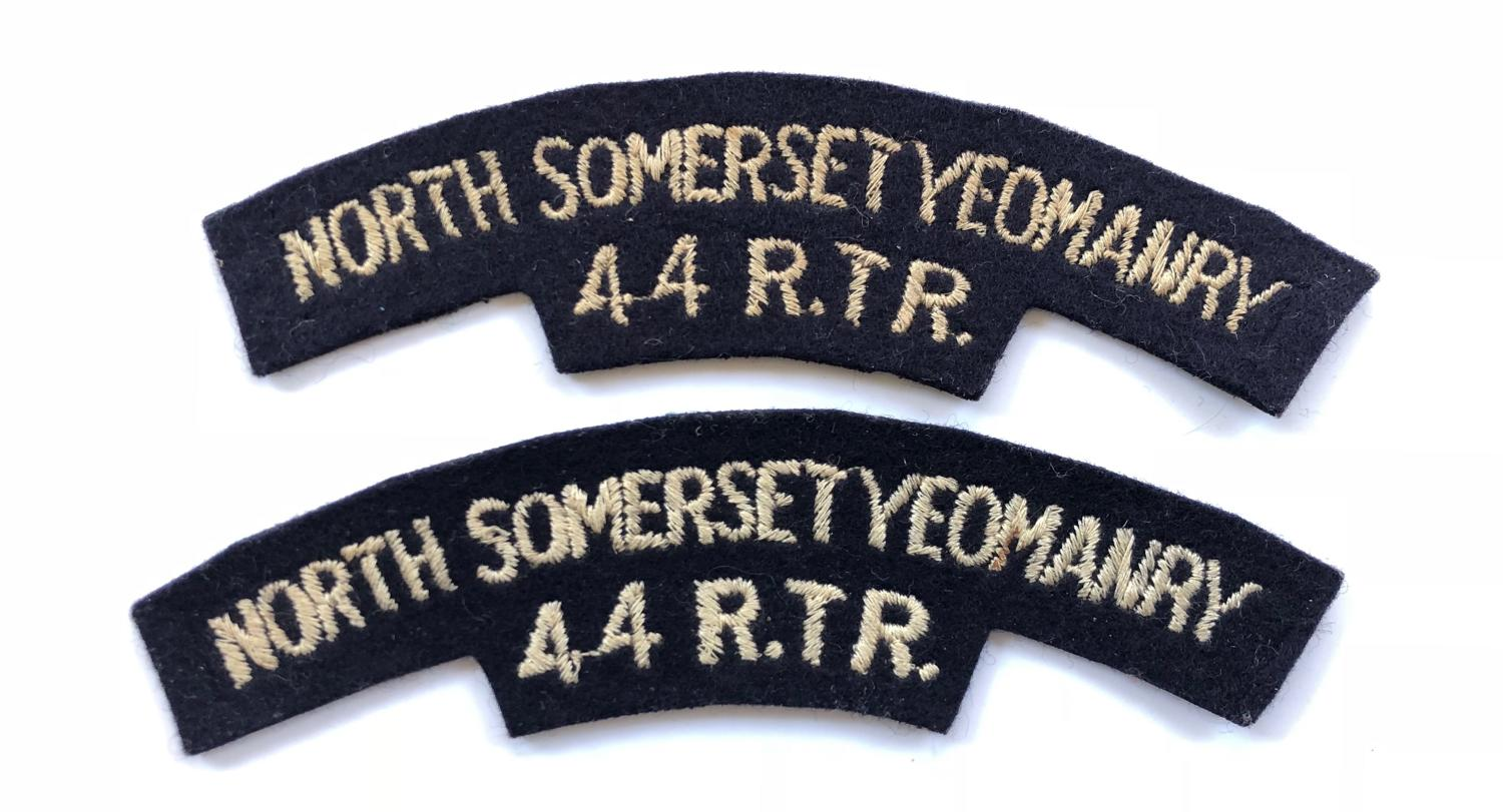 North Somerset Yeomanry 44 RTR Cloth Shoulder Titles Badge