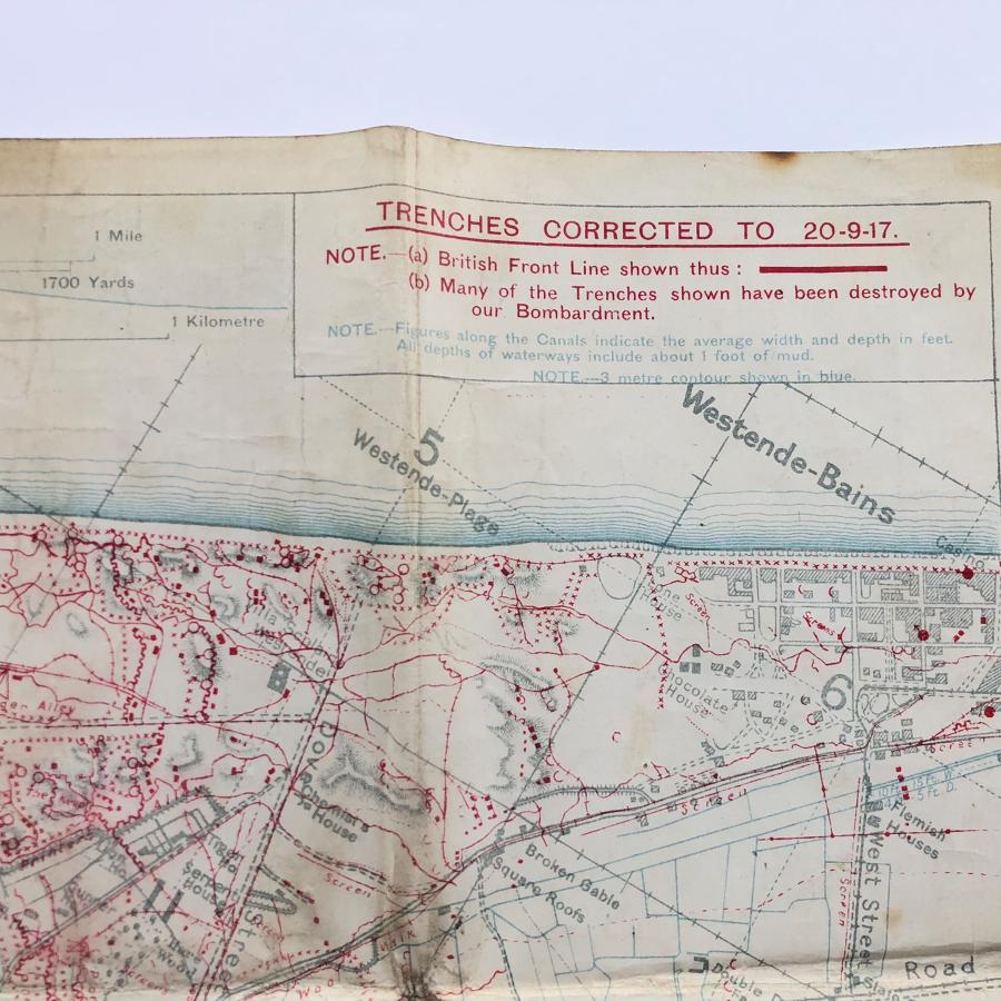 WW1 1st East Lancashire Regiment September 1917 Trench Map.