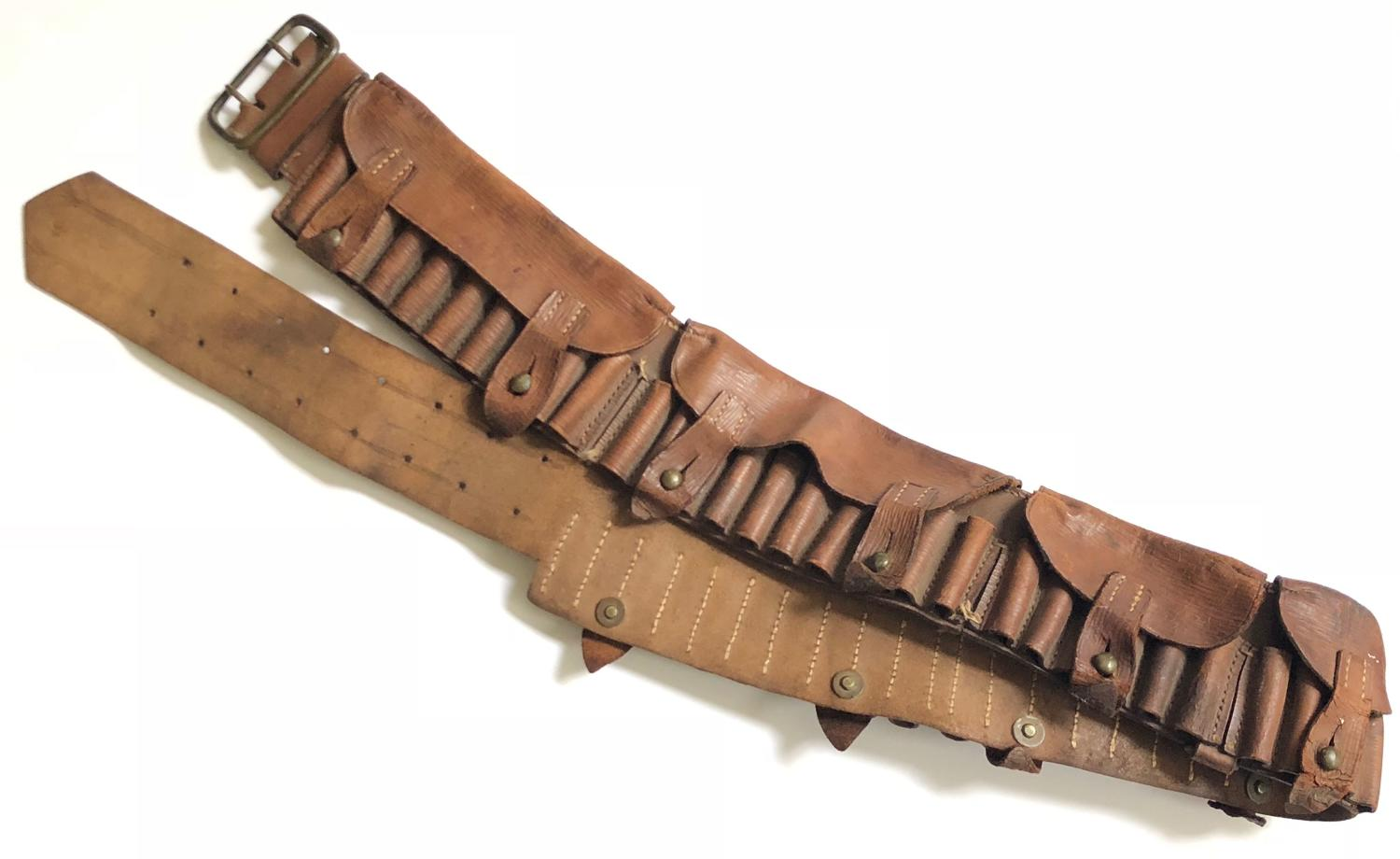 Boer War Pattern Leather Bandolier.