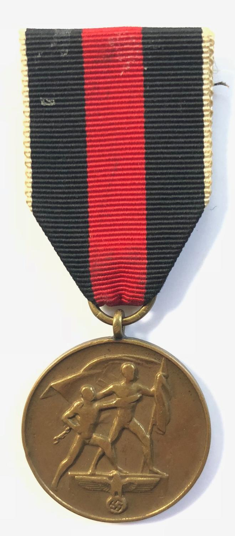 WW2 German Third Reich Annexation of the Sudetenland 1938 Medal