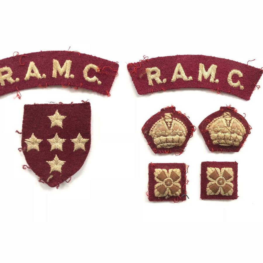 WW2 Period RAMC Officer's Cloth Badges.