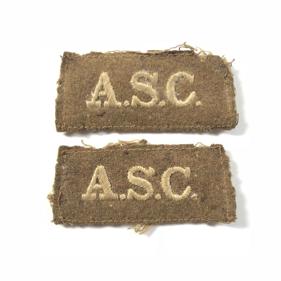 WW1 Army Service Corps Slip On Cloth Shoulder Titles Badge
