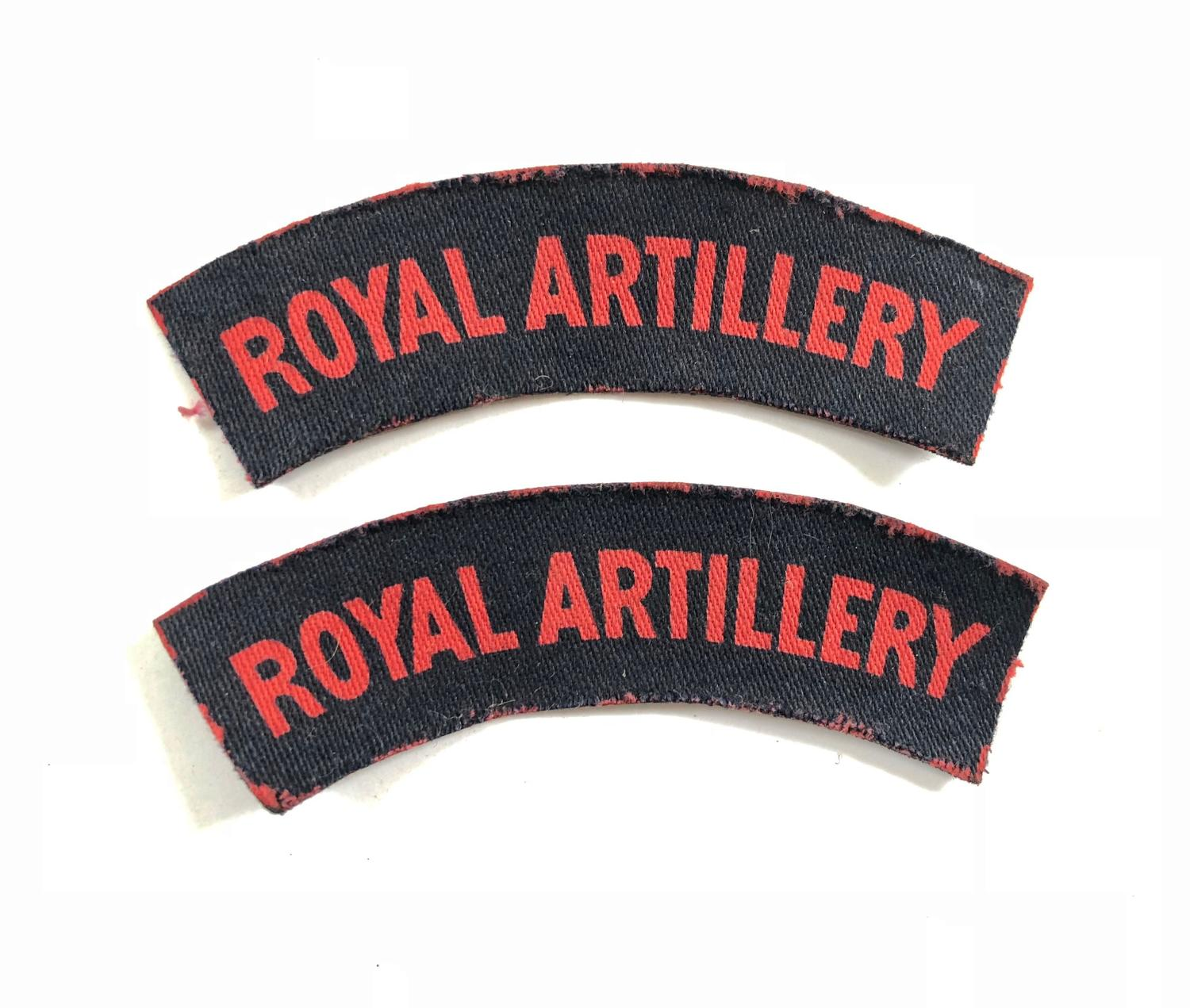 WW2 Royal Artillery Printed Shoulder Titles